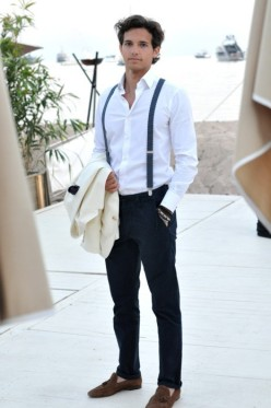 White Shirt and Suspenders